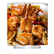 Curry Shrimp And Peppers On White Serving Plate Ready To Eat Shower Curtain
