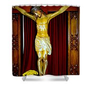 Curtains And Cross Shower Curtain