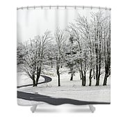 Mac Rae Field Curved Path Shower Curtain by Ken Barrett