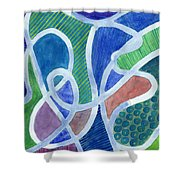 Curved Paths Shower Curtain