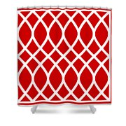 Curved Trellis With Border In Red Shower Curtain