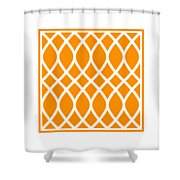 Curved Trellis With Border In Tangerine Shower Curtain
