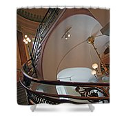 Stairs With Curved Lines Shower Curtain