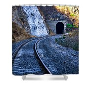 Curves On The Railways At The Entrance Of The Tunnel Shower Curtain