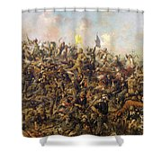 Custer's Last Stand From The Battle Of Little Bighorn Shower Curtain
