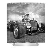 Custom Rod - Black And White Shower Curtain