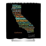 Custom Silhouette Art Print, Pop Art California Map, Modern Style Country Map, Country Maps For Home Shower Curtain