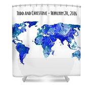 Custom World Map Shower Curtain