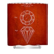 Cut Diamond Patent From 1873 - Red Shower Curtain