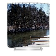 Cut River In Winter With Ducks Shower Curtain
