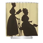 Cut Silhouette Of Two Women Facing Right 1837 Shower Curtain