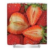 Cut Strawberries Shower Curtain