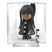 Cute 3d Girl On Shelf In Black Shower Curtain