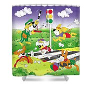 Cute Animals Crossing The Street Shower Curtain