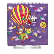 Cute Animals In Air Balloon Shower Curtain
