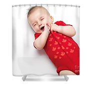 Cute Baby Boy Yawning Shower Curtain