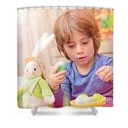 Cute Boy Enjoy Easter Holiday Shower Curtain