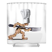 Cute Chef Box Character With Big Fork Shower Curtain