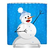 Cute Happy Snowman Shower Curtain