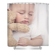 Cute Little Baby Sleeping Shower Curtain