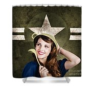 Cute Military Pin-up Woman On Army Star Background Shower Curtain by Jorgo Photography - Wall Art Gallery