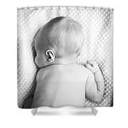 Cute Newborn Baby Black And White Shower Curtain