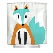 Cute Orange And Blue Fox- Art By Linda Woods Shower Curtain