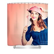 Cute Pinup Cook Thinking Up Colander Cooking Idea Shower Curtain
