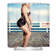 Cute Pinup Girl Looking Surprised On Beach Pier Shower Curtain
