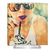 Cute Retro Girl Drinking Milkshake Shower Curtain