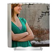 Cute Strawberry Blonde Girl Shower Curtain