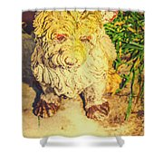 Cute Weathered White Garden Ornament Of A Dog Shower Curtain
