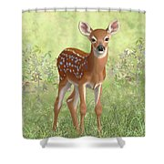 Cute Whitetail Deer Fawn Shower Curtain by Crista Forest