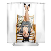 Cute Young Woman Sitting Upside Down On Chair Shower Curtain