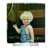 Cutie By The Train Shower Curtain
