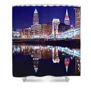Cuyahoga Reflecting The City Above Shower Curtain