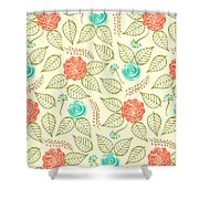 Cyan And Orange Floral Pattern Shower Curtain