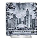 Cyanotype Anish Kapoor Cloud Gate The Bean At Millenium Park - Chicago Illinois Shower Curtain