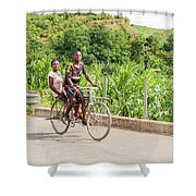 Cycling In Malawi Shower Curtain