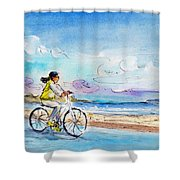 Cycling In Port De Pollenca In Majorca Shower Curtain