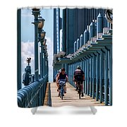 Cycling The Bridge Shower Curtain