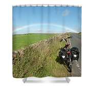 Cycling To The Rainbow Shower Curtain
