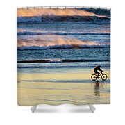 Cyclist Pedals Against The Wind At Pismo Beach Shower Curtain