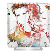 Cyndi Lauper Watercolor Shower Curtain