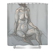 Cynthia Seated From Side Shower Curtain
