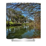 Cypress Bend Park Reflections Shower Curtain