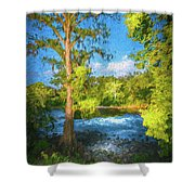 Cypress Tree By The River Shower Curtain