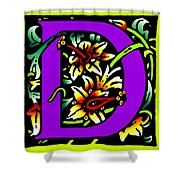 D In Purple Shower Curtain