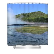 D09127 Reflection In Grand Prismatic Spring Shower Curtain