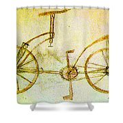 Da Vinci Inventions First Bicycle Sketch By Da Vinci Shower Curtain